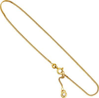 Fußkettchen Fußkette 333 Gold Gelbgold 1 Zirkonia 25 cm Federring