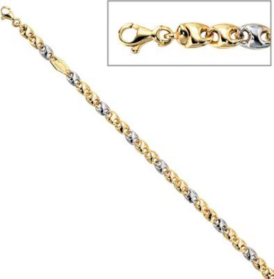 Jobo Armband 19 cm 585 Gold Gelbgold Weißgold