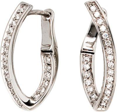 Creolen 585 Gold Weißgold 42 Diamanten Brillanten Ohrringe Goldcreolen