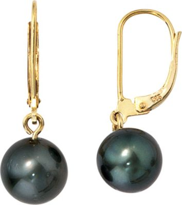 Jobo Boutons 585 Gold Gelbgold 2 Tahiti Perlen Ohrringe Ohrhänger Perlenohrringe