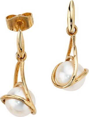 Jobo Ohrhänger 585 Gold Gelbgold 2 Süßwasser Perlen Ohrringe Perlenohrringe