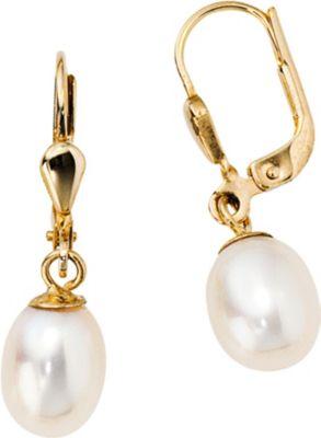 Jobo Boutons 585 Gold Gelbgold 2 Süßwasser Perlen Ohrringe Ohrhänger Perlenohrringe