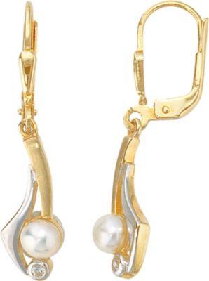 Jobo Boutons 333 Gold Gelbgold 2 Süßwasser Perlen 2 Zirkonia Ohrringe Ohrhänger
