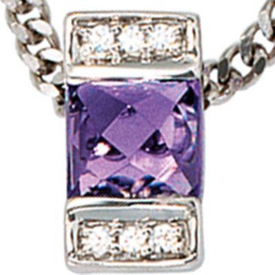Jobo Anhänger Halskettenanhänger Amethyst Diamanten 14Kt GOLD