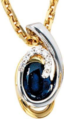 Jobo Anhänger Halskettenanhänger Brillanten Safir 14Kt GOLD