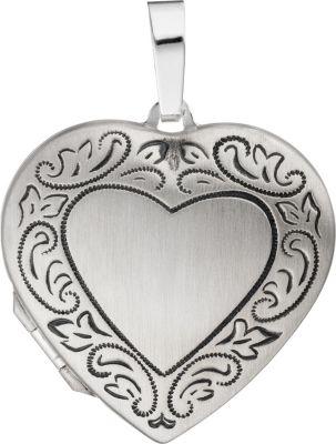Jobo Medaillon Herz für 2 Fotos 925 Silber matt...