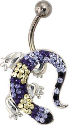Jobo Bauchnabel Piercing Gecko 925 Silber mit S...
