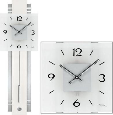 ams-ams-wanduhr-quarz-mit-pendel-aluminium-holzruckwand-mineralglas