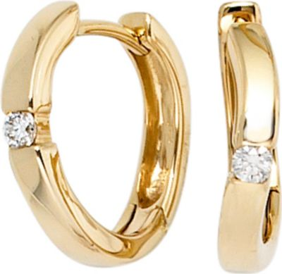 Creolen 585 Gold Gelbgold 2 Diamanten Brillanten 0,08ct. Ohrringe Goldcreolen