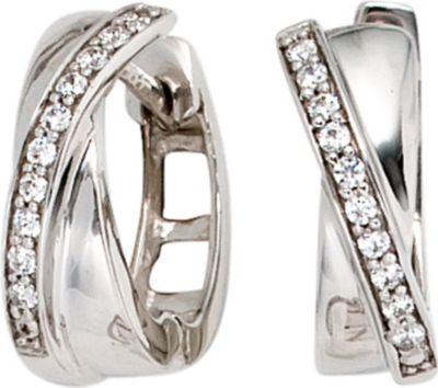 Jobo Creolen 585 Gold Weißgold 20 Diamanten Brillanten Ohrringe Goldcreolen