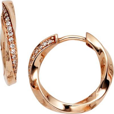 Creolen 585 Gold Rotgold 30 Diamanten Brillanten Ohrringe Goldcreolen