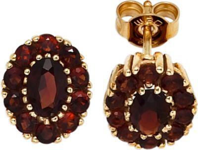 Jobo Ohrstecker oval 375 Gold Gelbgold 22 Granate rot Ohrringe