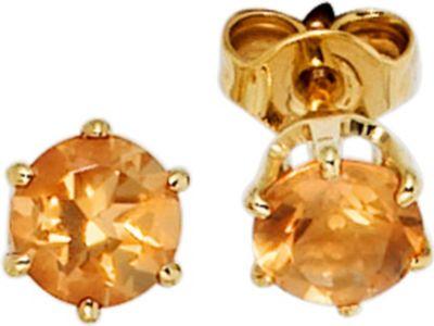 Ohrstecker rund 585 Gold Gelbgold 2 Citrine orange Ohrringe Goldohrstecker