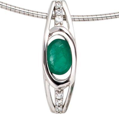 Jobo Anhänger Halskettenanhänger Brillanten Smaragd 14Kt GOLD