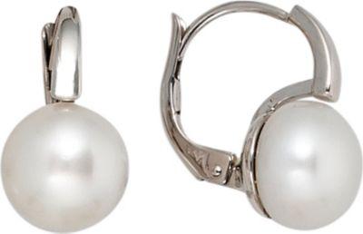 Jobo Boutons 585 Gold Weißgold 2 Süßwasser Perlen Ohrringe Ohrhänger Perlenohrringe