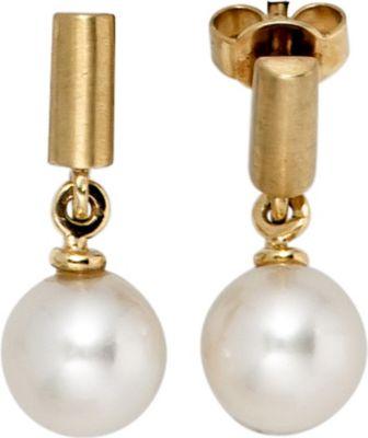 Jobo Ohrhänger 585 Gold Gelbgold mattiert 2 Süßwasser Perlen Ohrringe Perlenohrringe