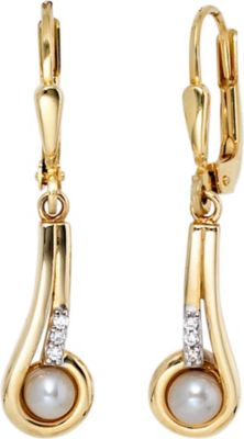 Jobo Boutons 333 Gold Gelbgold 2 Süßwasser Perlen 6 Zirkonia Ohrringe Ohrhänger