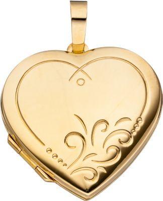 Jobo Medaillon Herz für 2 Fotos 925 Silber gold...