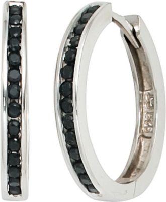 Creolen 925 Silber mit Zirkonia schwarz Ohrringe Silberohrringe Silbercreolen