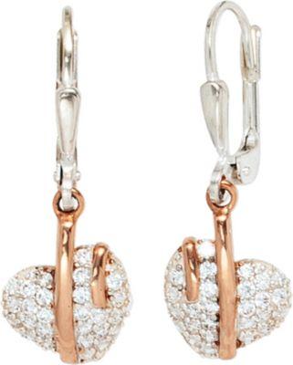 Boutons Herz 925 Silber bicolor mit Zirkonia Ohrringe Ohrhänger