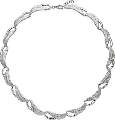 Collier Halskette 925 Sterling Silber teilgehämmert 50 cm Kette Silberkette
