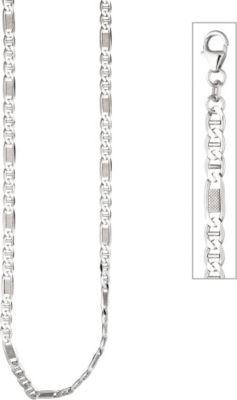 Panzer-Stegkette 925 Sterling Silber 45 cm Halskette Kette Silberkette Karabiner