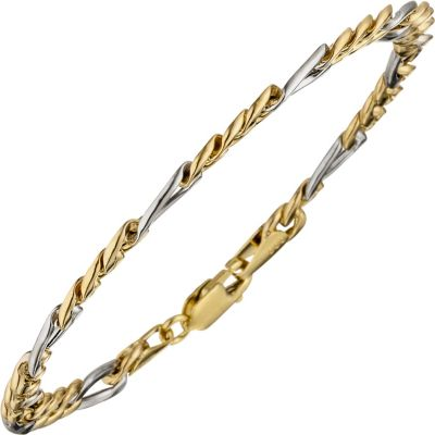 Jobo Armband 21 cm Figaro 333 Gold Gelbgold Weißgold