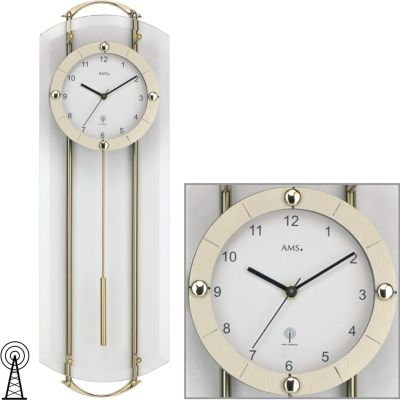 Ams 5883 Wanduhr Funk Mineralglas Mit Messingfarben Lackierten Metallstäben Wanduhren Weitere Uhren