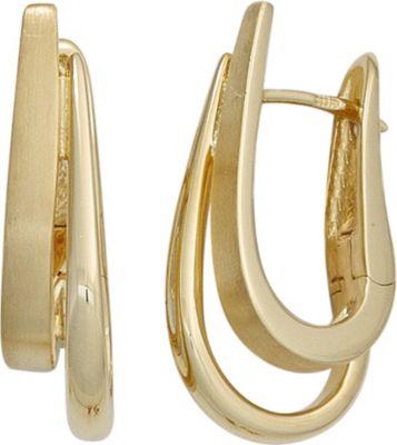 Creolen 585 Gold Gelbgold teil matt Ohrringe Goldohrringe Goldcreolen