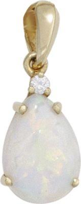 Jobo Anhänger Halskettenanhänger Opal Brillant 14Kt GOLD