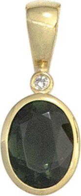 Jobo Anhänger Halskettenanhänger Turmalin Diamant 14Kt GOLD
