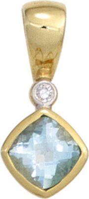 Jobo Anhänger Halskettenanhänger Diamant Blautopas 8Kt GOLD