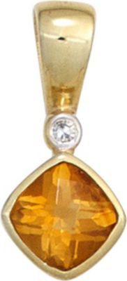Jobo Anhänger Halskettenanhänger Citrin Diamant 8Kt GOLD