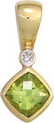 Jobo Anhänger Halskettenanhänger Peridot Diamant 8Kt GOLD