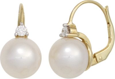 Jobo Boutons 585 Gold Gelbgold 2 Süßwasser Perlen 2 Diamanten Ohrringe Ohrhänger