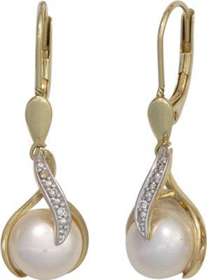 Jobo Boutons 585 Gold Gelbgold 2 Süßwasser Perlen 6 Diamanten Ohrringe Ohrhänger