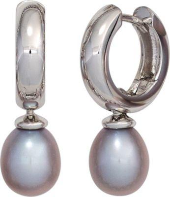 Creolen 585 Gold Weißgold 2 Süßwasser Perlen Ohrringe Perlenohrringe