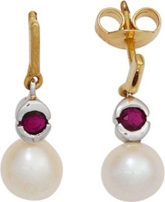 Jobo Ohrhänger 333 Gold Gelbgold Weißgold 2 Rubine rot 2 Süßwasser Perlen Ohrringe