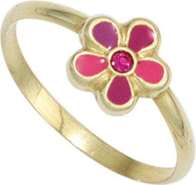 Jobo Kinder Kinder Ring Blume pink rot 333 Gold...