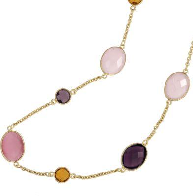 Collier Halskette 925 Silber gold vergoldet mit bunten Edelsteinen 50 cm Kette