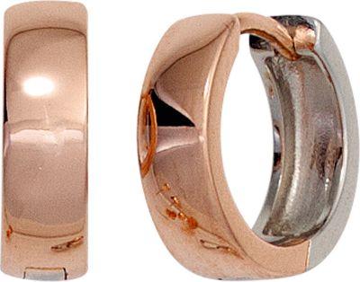 Creolen rund 925 Sterling Silber bicolor vergoldet Ohrringe