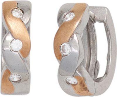 Creolen 925 Sterling Silber bicolor vergoldet mattiert Ohrringe