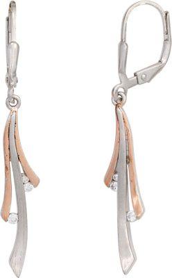 Boutons 925 Sterling Silber bicolor 6 Zirkonia Ohrringe Ohrhänger