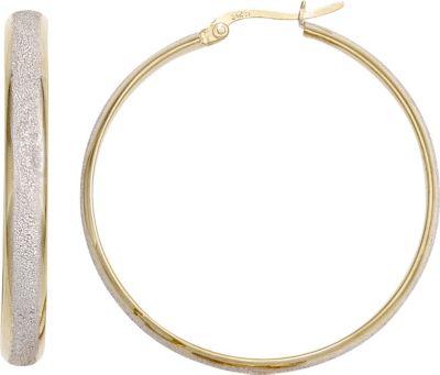 Creolen rund 925 Sterling Silber bicolor vergoldet mattiert Ohrringe