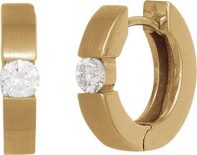 Creolen rund 585 Gold Gelbgold mattiert 2 Diamanten Brillanten 0,10ct. Ohrringe