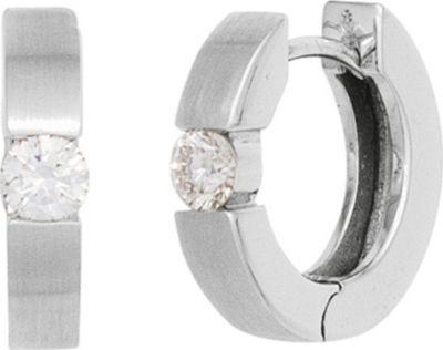 Creolen rund 585 Gold Weißgold mattiert 2 Diamanten Brillanten 0,10ct. Ohrringe