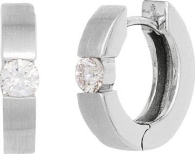 Creolen rund 585 Gold Weißgold mattiert 2 Diamanten Brillanten 0,15ct. Ohrringe
