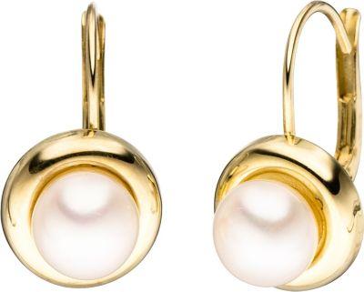 Jobo Boutons rund 333 Gold Gelbgold 2 Süßwasser Perlen Ohrringe Ohrhänger