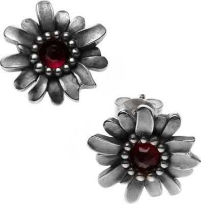 Jobo Ohrstecker Blume 925 Sterling Silber rhodiniert 2 Granate rot Ohrringe