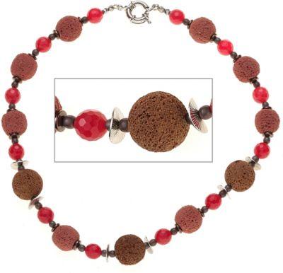 Halskette Edelsteinkette Lava mit Quarz und Hämatin rot braun 46 cm Kette